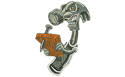 Embroidery Design: Angry Hammer Med 2.58w X 3.48h