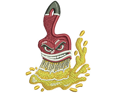 Embroidery Design: Angry Paintbrush Lg 2.49w X 3.53h