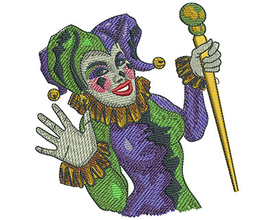 Embroidery Design: Mardi Gras Jester Med 3.79w X 3.99h