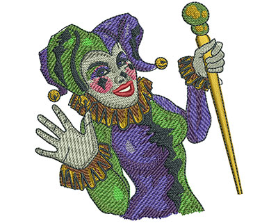 Embroidery Design: Mardi Gras Jester Sm3.31w X 3.49h