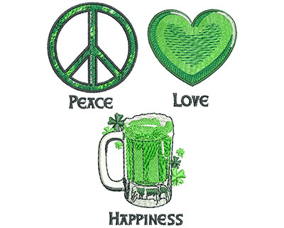 Embroidery Design: Peace Love Happiness Lg 3.82w X 4.51h