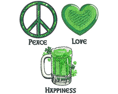 Embroidery Design: Peace Love Happiness Sm 2.97w X 3.51h