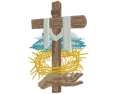Embroidery Design: Offering Cross Lg 3.57w X 5.49h