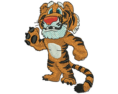 Embroidery Design: Friendly Tiger Lg 2.79w X 3.76h