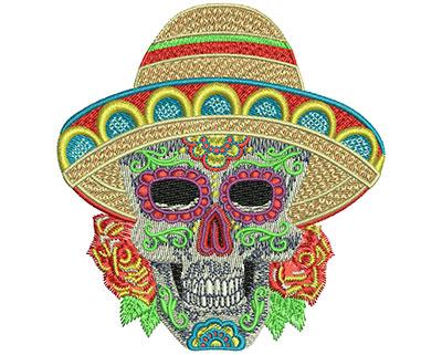 Embroidery Design: Sugar Skull Sumbrero Sm 3.32w X 3.52h
