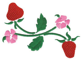 """Embroidery Design: Strawberry Floral Ender4.00"""" x 2.43"""""""