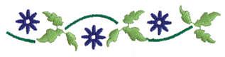 "Embroidery Design: Three Flower Ender4.00"" x 0.87"""