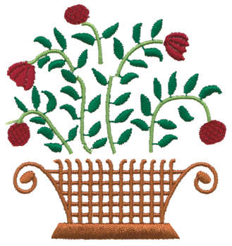 """Embroidery Design: Basket of Flowers3.40"""" x 3.51"""""""
