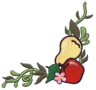 "Embroidery Design: Fruit Corner3.42"" x 3.51"""