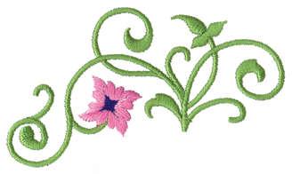 "Embroidery Design: Classic Vine Ender3.76"" x 1.86"""