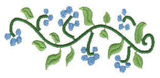 """Embroidery Design: Small Flower Vine3.43"""" x 1.58"""""""