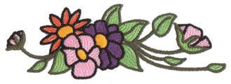 "Embroidery Design: Floral Ender4.75"" x 1.59"""