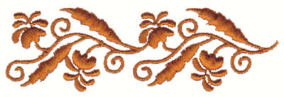 """Embroidery Design: Stylized Floral Embellishments4.00"""" x 1.26"""""""