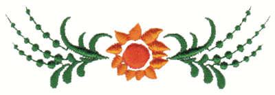 "Embroidery Design: Sun Flower Embellishment3.99"" x 1.27"""