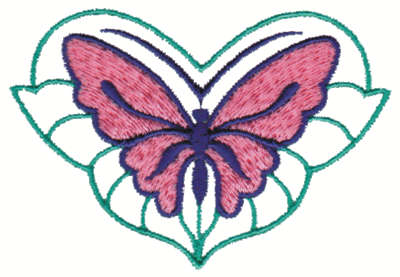 """Embroidery Design: Stylized Butterfly3.51"""" x 2.37"""""""