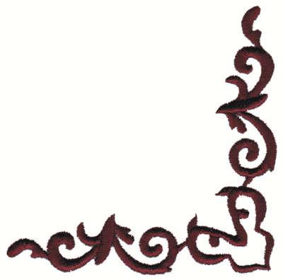 "Embroidery Design: Corner Scrollwork Embellishment4.00"" x 4.01"""