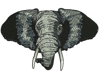 Embroidery Design: Elephant Head Sm 3.50w X 2.27h