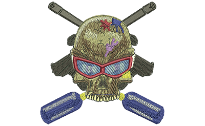 Embroidery Design: Paintball Skull Lg 4.49w X 4.44h