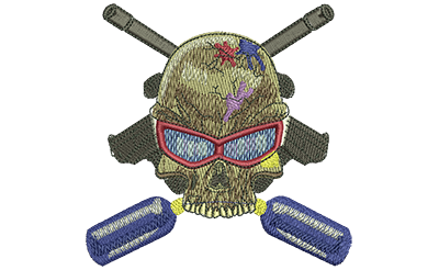 Embroidery Design: Paintball Skull Med 3.99w X 3.95h