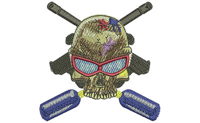 Embroidery Design: Paintball Skull Sm 3.50w X 3.46h