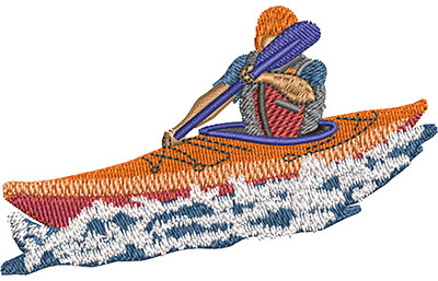 Embroidery Design: Kayaking Lg 3.45w X 2.13h