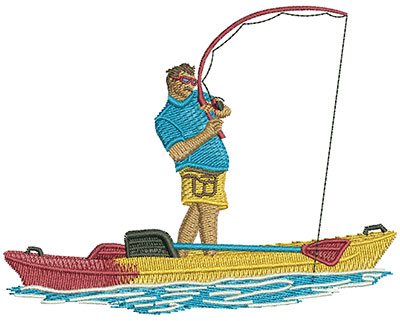 Embroidery Design: Kayak Stand Up Fishing Lg  4.44w X 3.48h