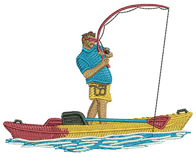 Embroidery Design: Kayak Stand Up Fishing Med 3.94w X 3.09h