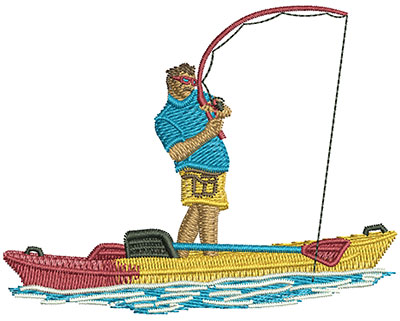 Embroidery Design: Kayak Stand Up Fishing Sm 3.43w X 2.69h
