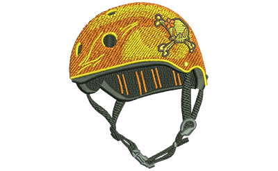 Embroidery Design: Helmet With Flower Skull Lg 3.37w X 4.02h