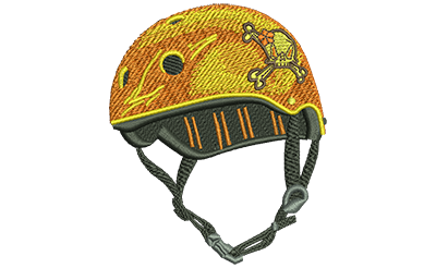 Embroidery Design: Helmet With Flower Skull Med 2.94w X 3.51h