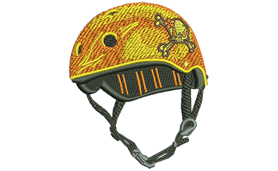 Embroidery Design: Helmet With Flower Skull Sm 2.53w X 3.02h