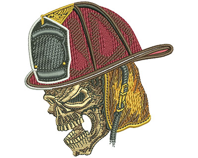 Embroidery Design: Firefighter Skull Sm 3.34w X 3.49h