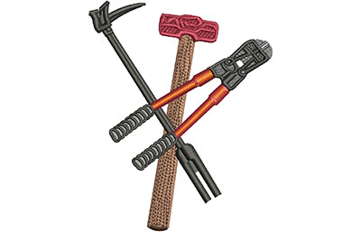 Embroidery Design: Firefighter Tools Med 2.79w X 3.51h
