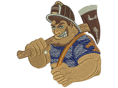 Embroidery Design: Fire Fighters Cartoon Tough Guy Lg 3.41w X 3.51h