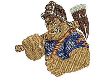 Embroidery Design: Fire Fighters Cartoon Tough Guy Med 2.92w X 3.01h