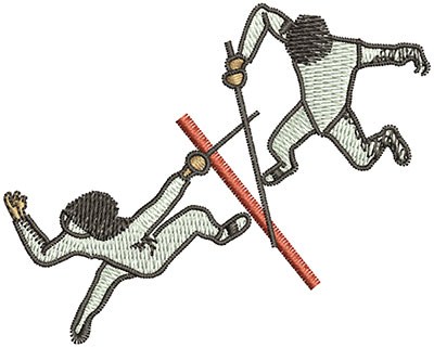 Embroidery Design: Fencing From Above Sm 2.01h X 2.51w