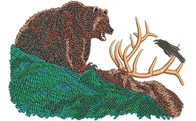 Embroidery Design: Grizzly With Elk Lg 6.01w X 4.06h