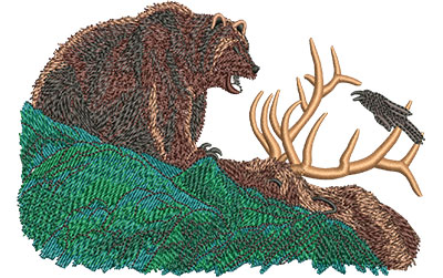 Embroidery Design: Grizzly With Elk Med 5.00w X 3.38h