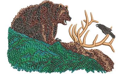 Embroidery Design: Grizzly With Elk Sm 4.00w X 2.71h