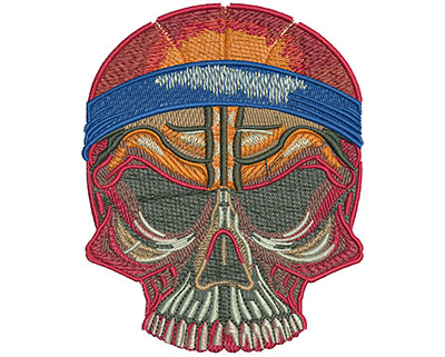 Embroidery Design: Basketball Skull Lg 3.57w X 4.44h