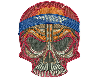 Embroidery Design: Basketball Skull Med 3.17w X 3.95h