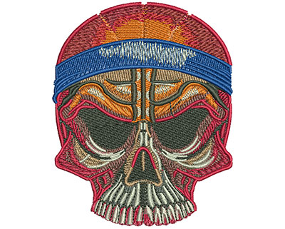 Embroidery Design: Basketball Skull Sm 2.77w X 3.44h