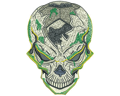 Embroidery Design: Soccer Skull Lg 2.85w X 4.02h