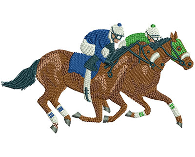 Embroidery Design: Horse Racing Lg 4.47w X 2.56h