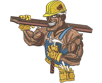 Embroidery Design: Construction Tough Guy Lg 4.47w X 4.45h