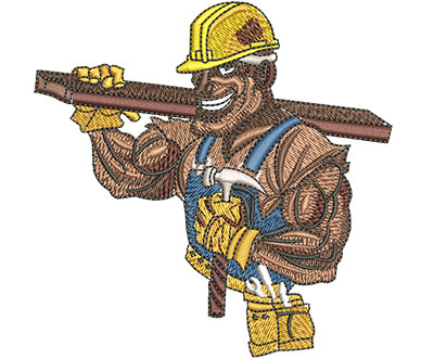 Embroidery Design: Construction Tough Guy Med 3.97w X 3.95h