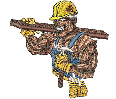 Embroidery Design: Construction Tough Guy Sm 3.47w X 3.46h