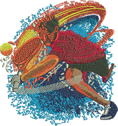 Embroidery Design: Tennis Hit Fire Lg 4.22w X 4.48h