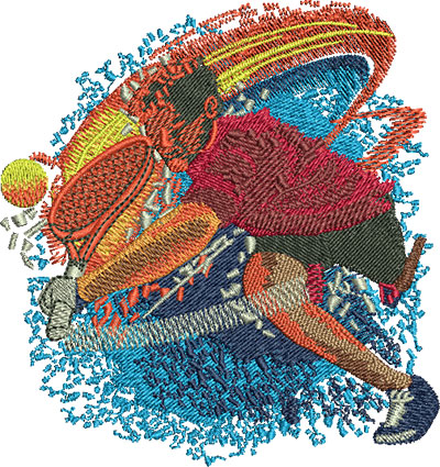 Embroidery Design: Tennis Hit Fire Med 3.75w X 3.98h