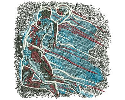Embroidery Design: Basketball Shooting Star Lg 5.98w X 6.00h